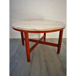 Table Basse teck/marbre rose