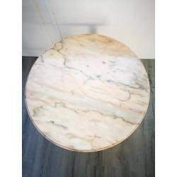 Table Basse teck/marbre rose