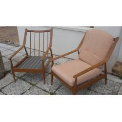 Paire de fauteuil teck scandinave
