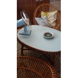 Table rotin soleil vintage 60