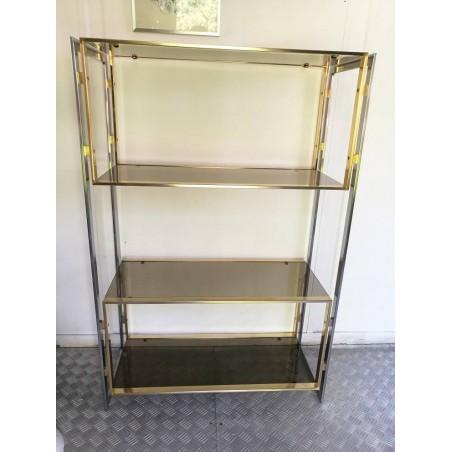 Etagère métal brossé/doré vintage 70/80