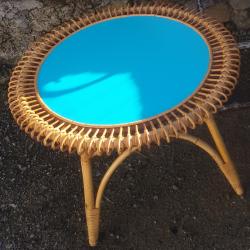 Table basse rotin soleil