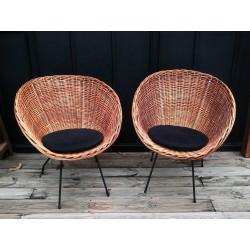 Paire de fauteuils rotin corbeille vintage