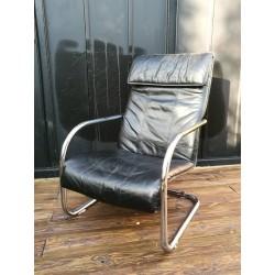 Fauteuil cuir lounge design 80