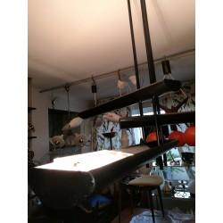 Lustre halogène Maison Lucien Gau vintage 80