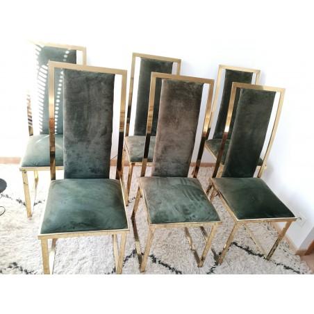 Chaise métal doré nubuck vert