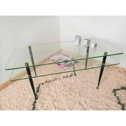 Table basse verre/laiton vintage 60