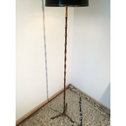Lampadaire bronze style bambou vintage