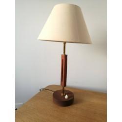 Lampe à poser teck/laiton vintage 60