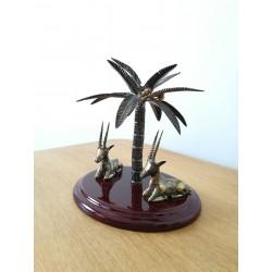 Bibelot gazelles et palmier argenté vintage
