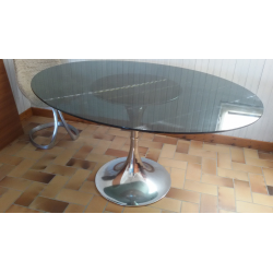 Table ovale verre gris