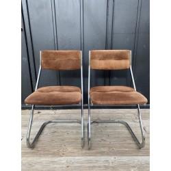 4 chaises chrome et daim...