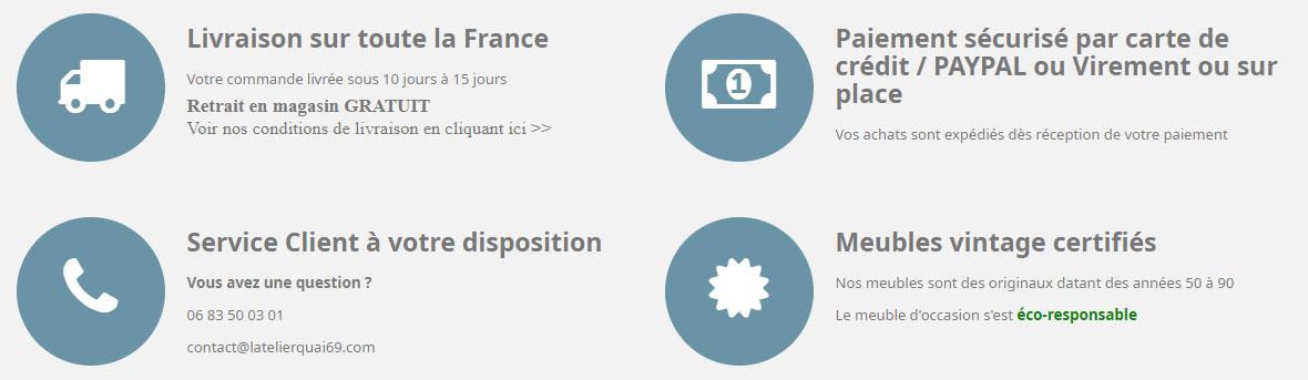 Livraison sur toute la France, Paiement sécurisé, Service client disponible, Meubles vintage certifiés